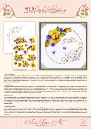 3D Card Embroidery Pattern Sheets Yellow Rose tweezijdig bedrukt
