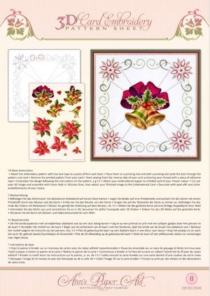 3D Card Embroidery Pattern Sheets Christmas Bells tweezijdig bedrukt