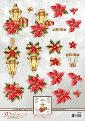 3D Decoupage Sheets Lantern with Poinsettia met borduurpatroon download
