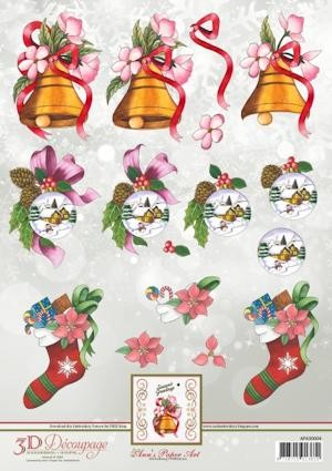 3D Decoupage Sheets Christmas Stocking met borduurpatroon download