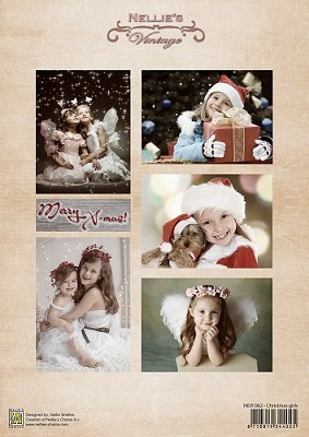 Decoupage sheet vintage Christmas girls