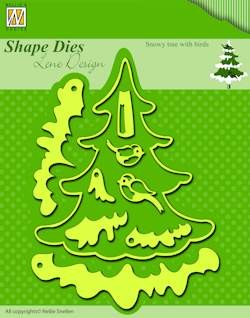 Nellie`s Shape Dies christmas snowy tree with birds