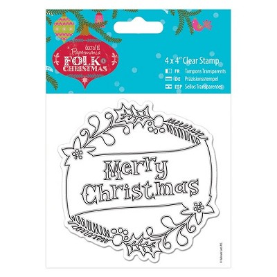 4 x 4 Clear Stamp - Folk Christmas - Merry Christmas