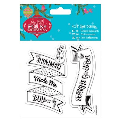 4 x 4 Clear Stamp - Folk Christmas - Snowman