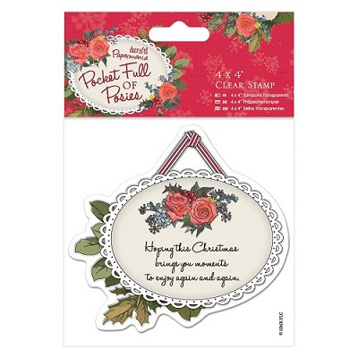 4 x 4 Clear Stamp - Pocket Full of Posies - Hanging Tag