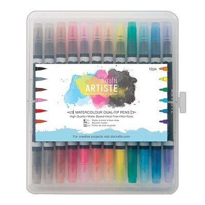 Watercolour Dual Tip Pens (12pk) Brush & Marker