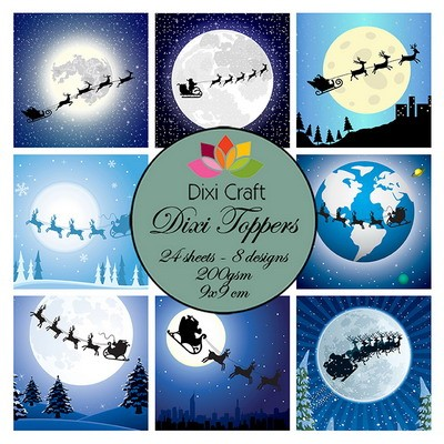 Mini toppers set 9x9 cm christmas sleigh