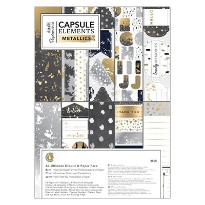 A4 Ultimate Die-cut & Paper Pack (48pk) - Elements Metallics