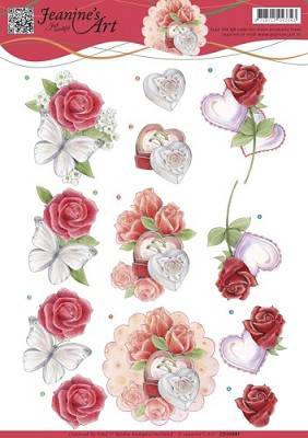 3D knipvel Jeanine`s Art - Roses and Hearts