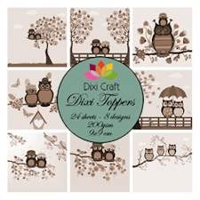 U Mini toppers set 9x9 cm owl sepia