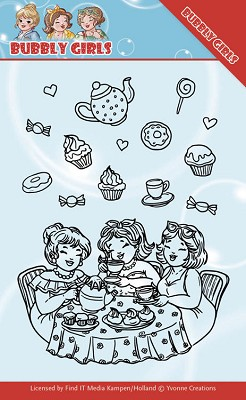 Clear Stamps - Yvonne Creations - Bubbly Girls - Tea Party