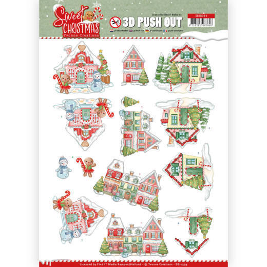3D Pushout - Yvonne Creations - Sweet Christmas - Sweet Houses