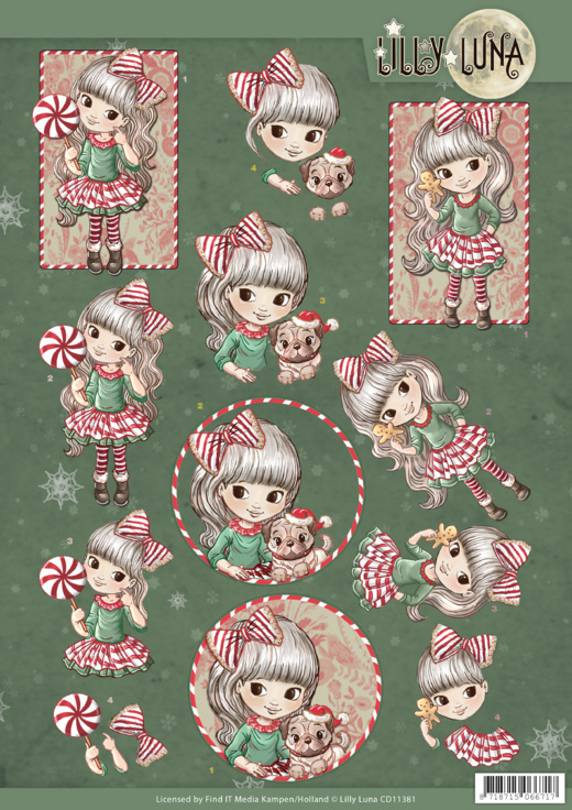 3D knipvel - Yvonne Creations - Lilly Luna Christmas Fun