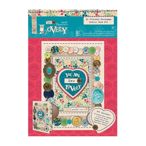 A5 Stitched Decoupage Medley Card Kit - Sew Lovely