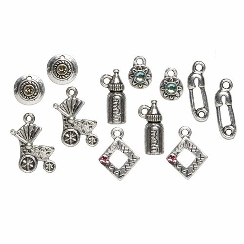 12pc metal charms baby mix