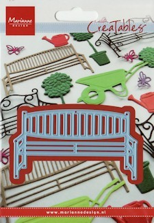 Creatables stencil garden bench wood