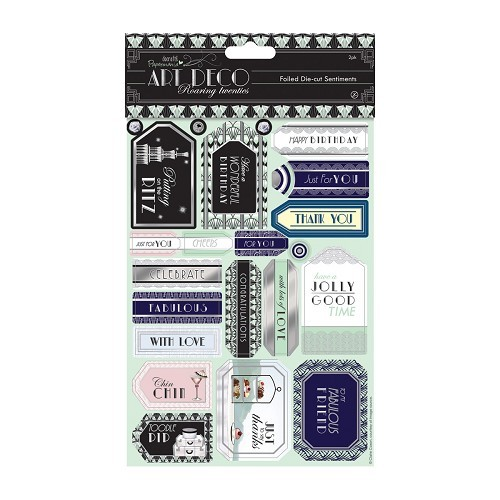 Die-cut Sentiments Foiled (2pk) - Art Deco