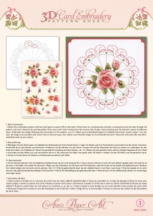 3D Card Embroidery Pattern Sheets Rose Glow tweezijdig bedrukt