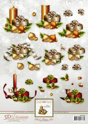 3D Decoupage Sheets Christmas Candles met borduurpatroon download